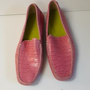 Cole haan womens Pink croc loafers size 9